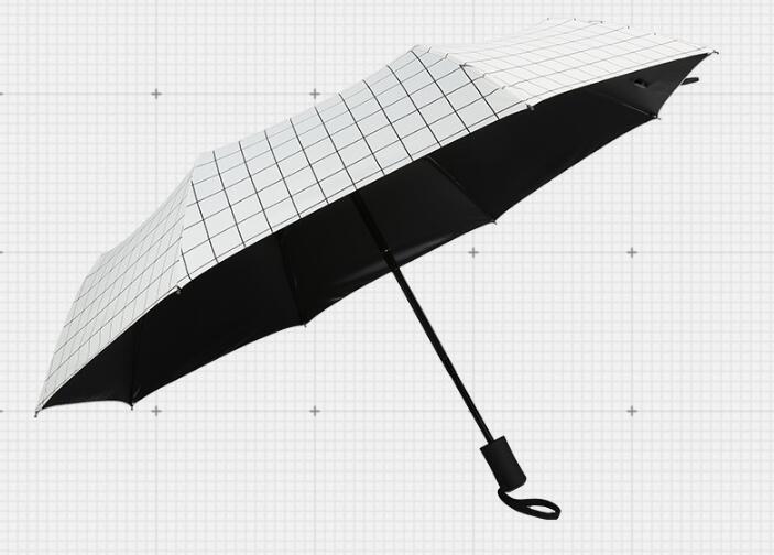 Fashion lattice umbrella, sunny and rainy, three folding automatic sunshade windproof rainproof