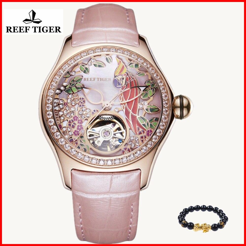 2019 Recife Tigre/RT Relógios Das Mulheres Moda De Luxo Diamante Relógio Automático Tourbillon Leather Strap Watch Relogio feminino RGA7105