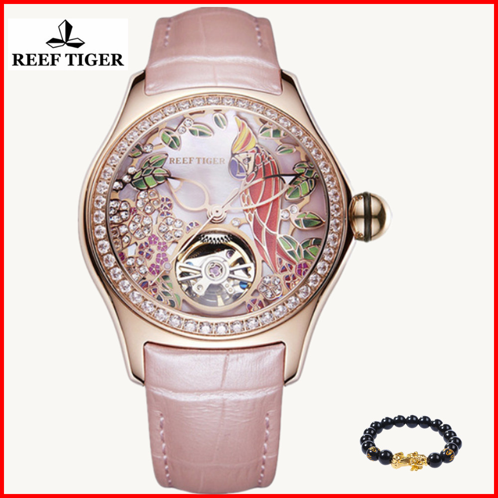 2019 Reef Tiger/RT Womens Luxury Fashion Watches Diamond Automatic Tourbillon Watch Leather Strap Watch Relogio Feminino RGA71052019 Reef Tiger/RT Womens Luxury Fashion Watches Diamond Automatic Tourbillon Watch Leather Strap Watch Relogio Feminino RGA7105