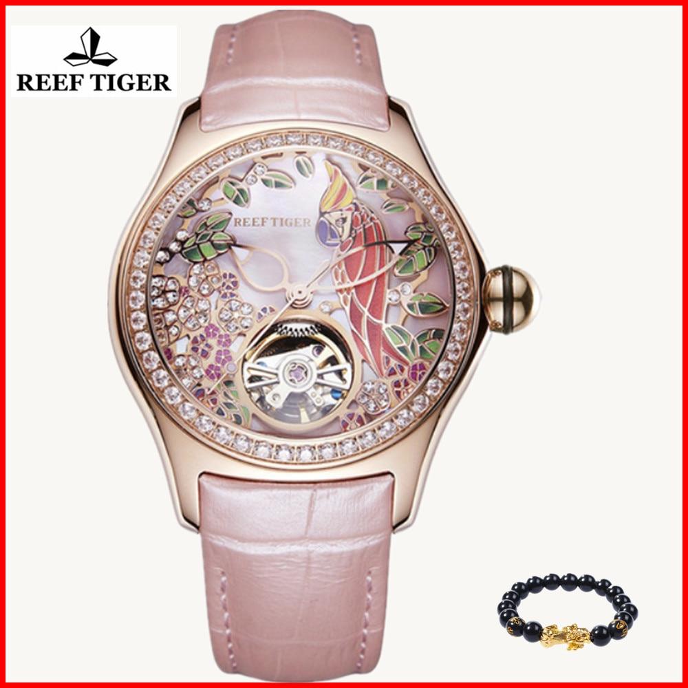 Relojes de moda de lujo para mujer, tigre de arrecife 2019, reloj automático Tourbillon de diamantes, reloj de correa de cuero, reloj femenino RGA7105