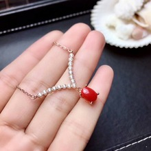 shilovem 925 sterling silver Natural red coral pendants fine Jewelry women trendy send necklace new gift 5*7mm xhflp0507agsh