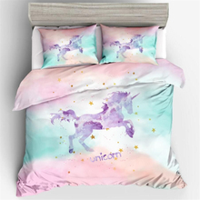 Girls Bedroom Decor Cute Unicorn/Wolf Printed Duvet Cover Pillowcase 2/3pcs Bed Linen (No Filling)