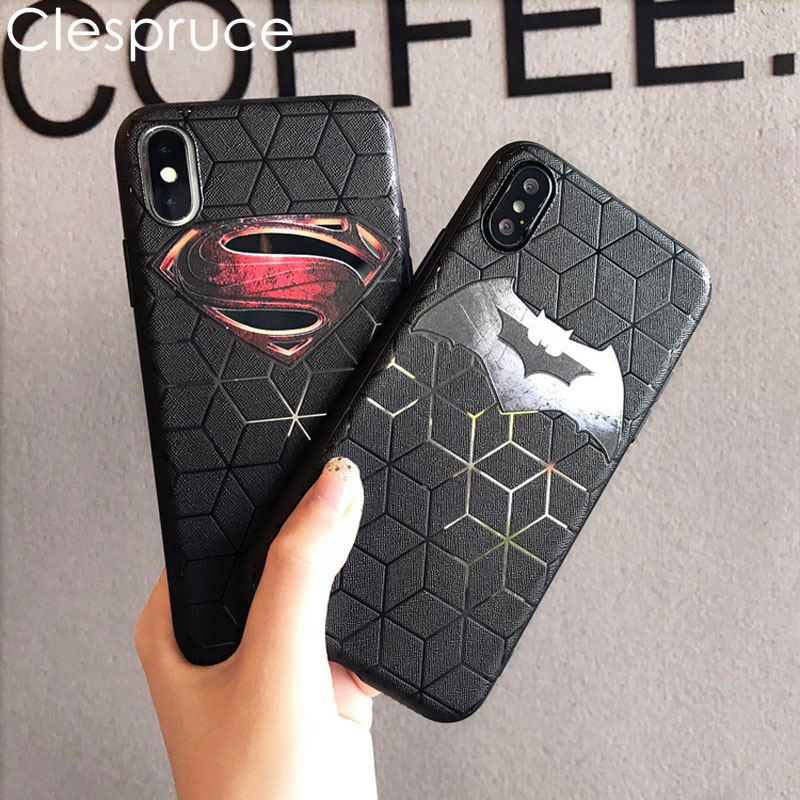 Embossing Soft Ultra-thin Matte Batman Silicone Phone Case for iPhone 7 6 8 Plus Back Cover for iPhoneX 10 Spiderman Superman
