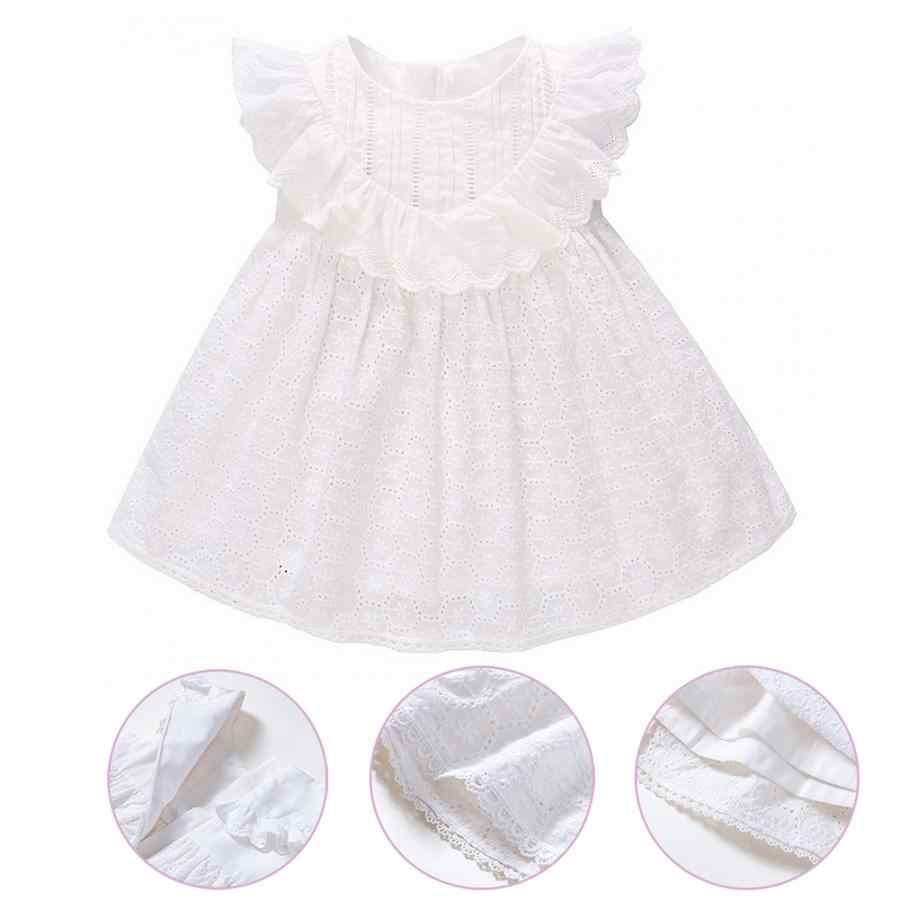 Детское хлопковое белое кружевное платье с вышивкой для девочек элегантные платья принцессы для маленьких девочек платье принцессы без рукавов с вышивкой