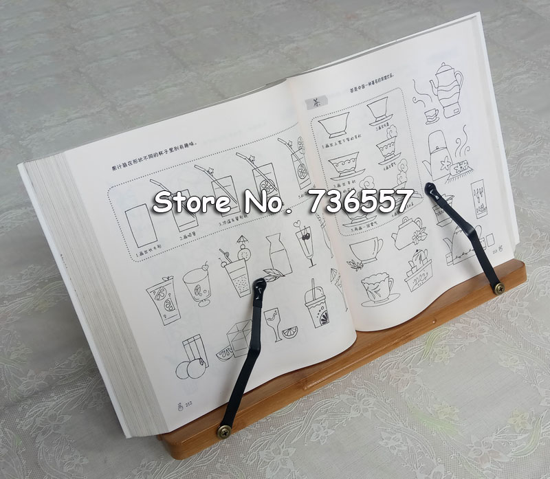 33*20cm Natural bamboo reading frame solid wood frame reading books log reading frame korea stationery holder protect eyesight