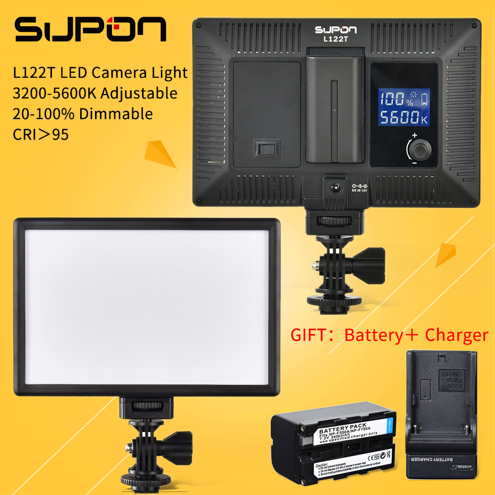 SUPON L122T LED 3300K-5600K Panel de lámpara de video de estudio ultra regulable, de dos colores y regulable, LCD ultra delgado para cámara DV videocámara + batería NP-F550