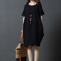 Female Casual Dresses 2018 Summer Cotton Linen Vestidos Women Short Sleeve O neck Pockets Solid Dresses Plus Size RE0579