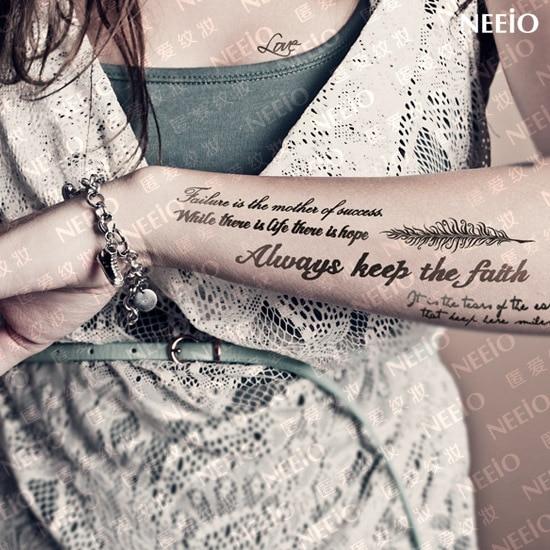 Tatuaje Temporal Impermeable Letras Para Las Mujeres Brazo Pierna