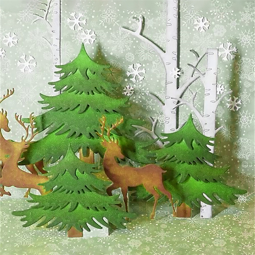 2018 new Christmas Trees Dies Metal Cutting Dies dies scrapbooking New Arrival Christmas Craft Dies Background For Card Making in Cutting Dies from Home Garden