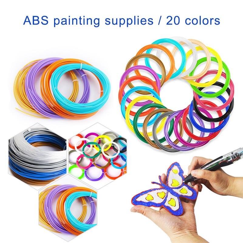 1 Bag/20 Kleuren Abs Filament Plastic 1.75mm/3.0mm Accessoires Voor 3d Pen Goede Reputatie Over De Hele Wereld