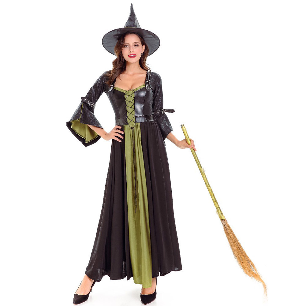 medieval renaissance black witch costumes halloween fly witch