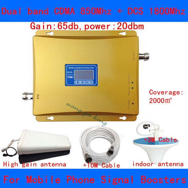 Full Set LCD booster !!! Dual band 3g wifi repeater gsm cellular 850Mhz/1800Mhz 4G LTE amplifier cell phone signal booster 65d