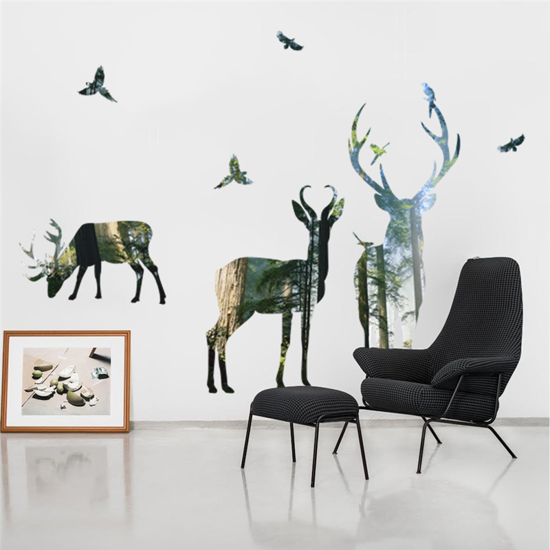 Forest Deer Wall Stickers Home Decor Living Room Office Decorations 3d  Effect Wall Decals Pvc Mural Art Diy Poster Wallpaper In Wall Stickers From  Home ...