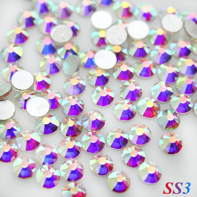 Sale! Super Shiny SS3(1.3mm)1440pcs/Bag Clear Crystal AB color 3D Non HotFix FlatBack Nail Art Decorations Flatback Rhinestones