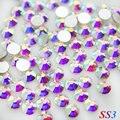 Venta! Super Brillante SS3 (1.3mm) 1440 unids/bolsa Clear Crystal AB color 3D FlatBack Del Hotfix no Nail Art Decoraciones Rhinestones del flatback