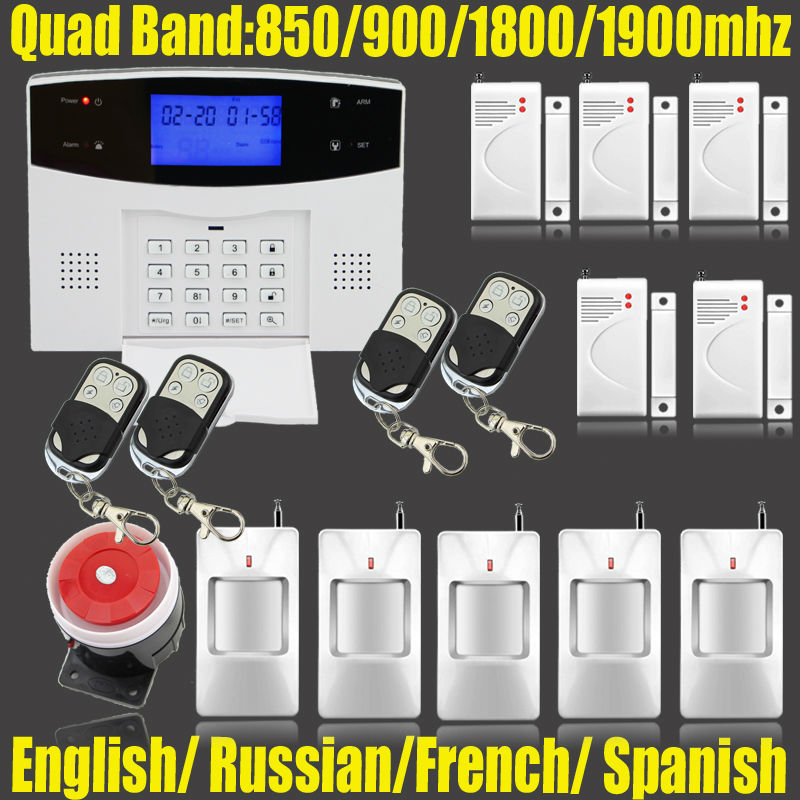 ФОТО Russian/Spanish/English/French voice wireless infrared GSM alarm system for home Security Protection with door/window gap sensor