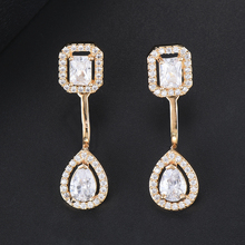 SISCATHY Trendy Design Fashion Stud Earrings Square&Water Drop Crystal New Jewelry Trend Romantic Lover Gift Handmade