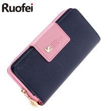 RUO FEI fashion Women Wallet Luxury Female Feminina Long Wallets Ladies PU Leather Zipper Purse Card Holders Clutch Money Bag
