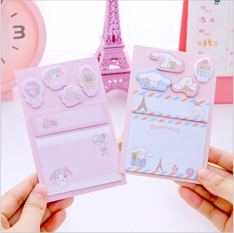 Lovely Melody Little Twin Stars Cinnamoroll Pudding Dog Daily Plan List Agenda Planner Accessories Index Sticky Memo Message Pad