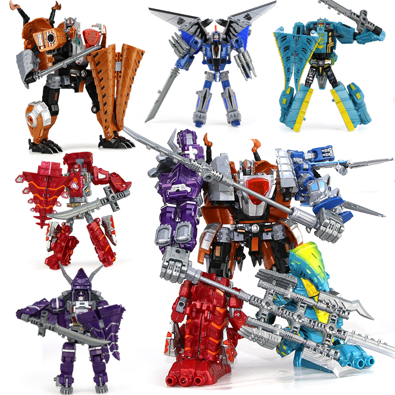 Anime 5 in 1 combination Toys Kids Classic Dinosaur Plastic Dragon Robot Action & Toy Figures Kids Education Toy Gifts for boy dinosaur transformation plastic robot car action figure fighting vehicle with sound and led light toy model gifts for boy