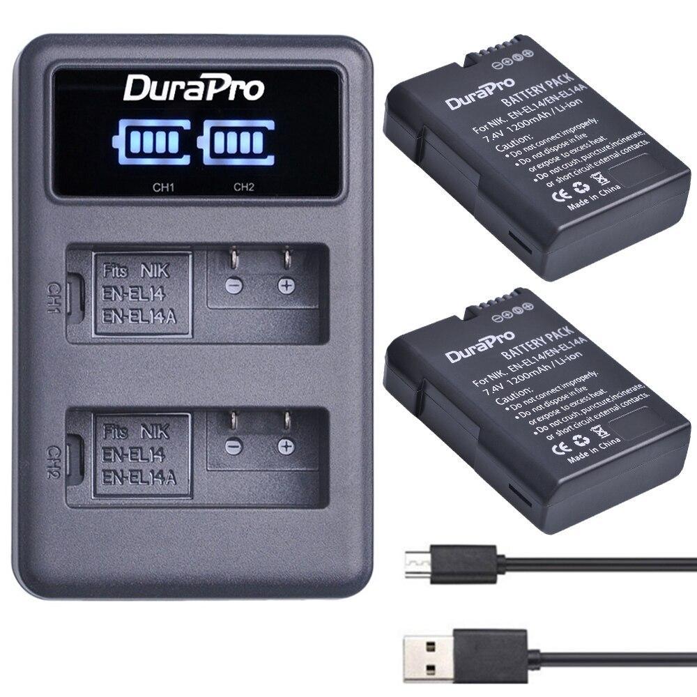 2x EN-EL14 EN EL14 EL14A Batterie + LED USB Double Chargeur pour Nikon D5600, D5200, D5300, D5500, D3100, D3200, D3300, D3400, P7100, P7800, 7700