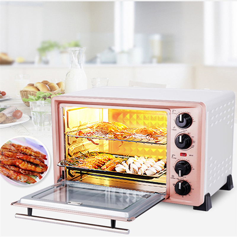 36L Multifunctional Stainless Steel Electric Oven For Making Bread Cake Pizza Baking Oven With Timer 3000w stainless steel commercial electric pizza oven with timer 2 layer making bread pizza cake baking oven