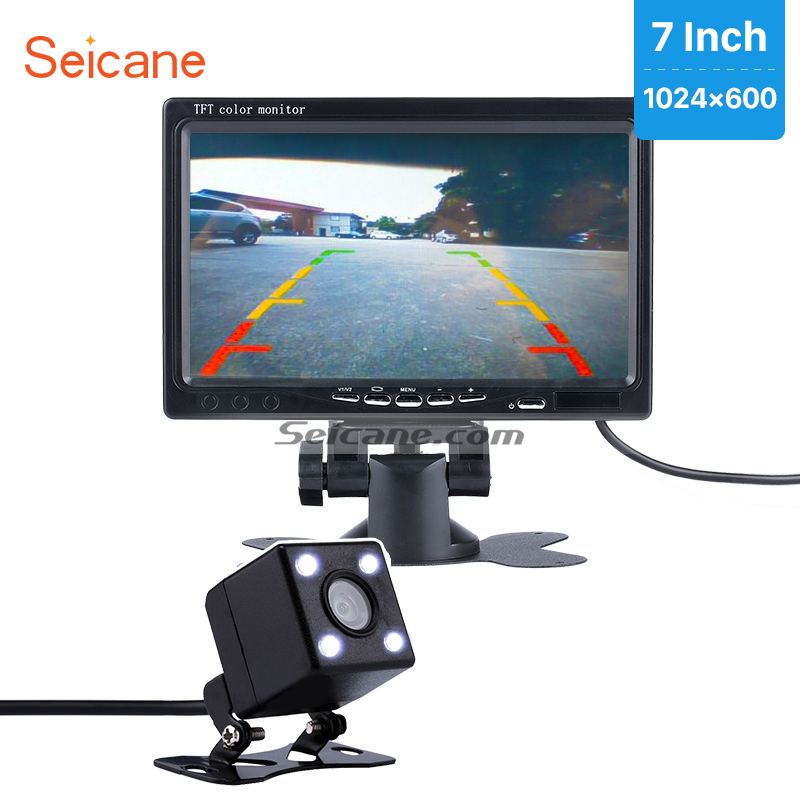 Seicane 7 Car Monitor DVR TFT LCD Digital Display Video Recoder AV with HD Parking Car Reverse Rear View Backup Camera free