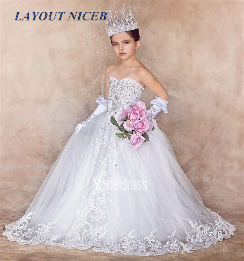 New Luxury Flower Girls Dresses for Weddings Sweetheart Appliques Crystal Real Photos First Communion Dress Girls Pageant-in Flower Girl Dresses from Weddings & Events    1