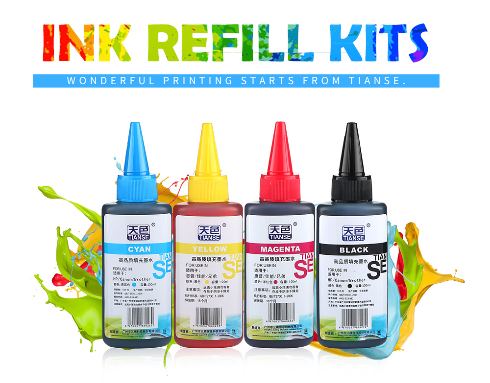 TIANSE high quality 100ml Color universal Dye Ink refill kit refillable for  printer for canno brother ink cartirdges ciss