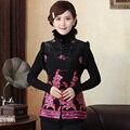 Новое прибытия осень зима китайских традиционных женских вышивает цветок жилет L XL XXL 3XL 4XL 5XL MTJ20150060