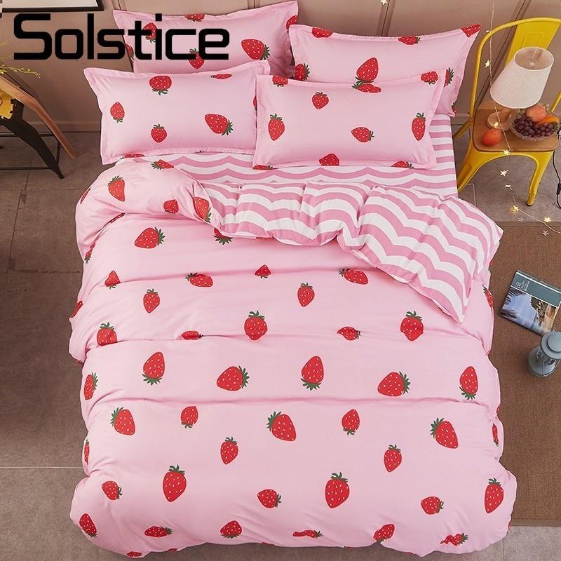 Solstice Home Textile Pink Bedding Set For Girl Kid Teen Bedlinen Strawberry Duvet Quilt Cover Pillowcase Stripe Bed Sheet 3-4Pc