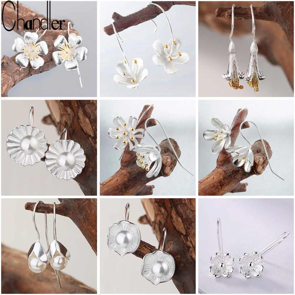Chandler Long Big Lotus silver Jewelry Flower Drop Earrings For Women Statement Earring Pendientes Plata 925 Bijoux