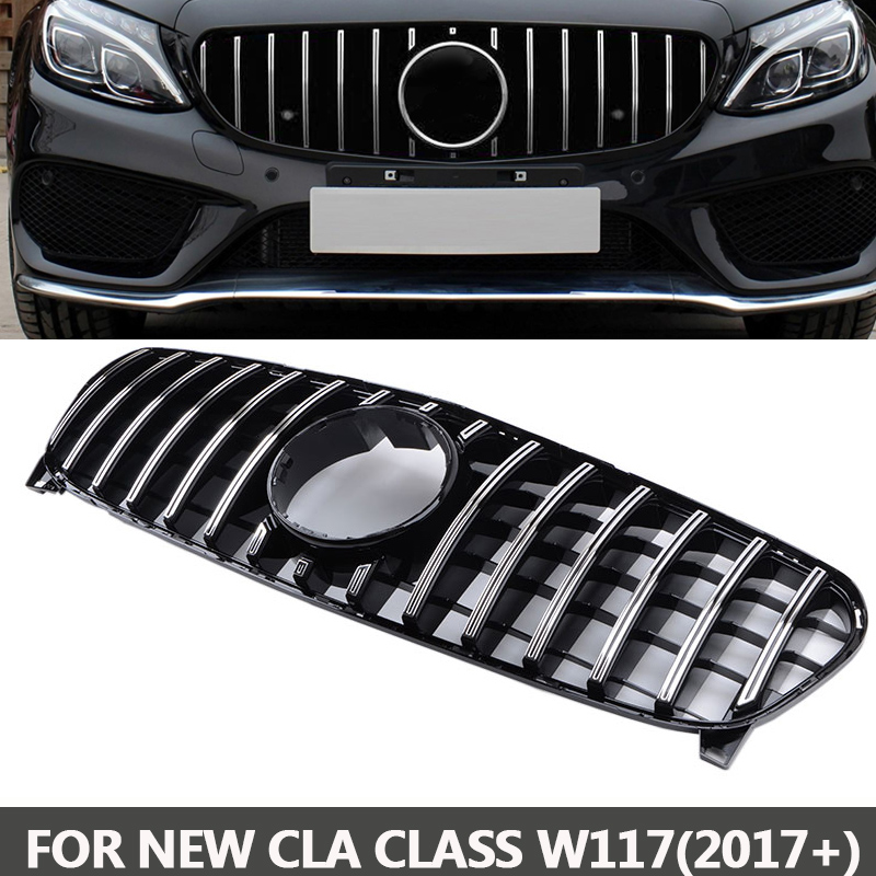 GTR style Grille AMG Front Grill For CLA Class Mercedes Benz W117 C117 CLA200 220 CLA260 300 2018 2017 ABS Material for mercedes benz cla class w117 cla180 cla200 cla250 cla45 amg carbon fiber front lip splitter flap canard fits sporty car amg