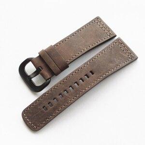 Image 5 - MERJUST Handmade 28mm Thick Black Brown Gray Calf Genuine Leather Wrist Watch Band For  Seven Friday Strap Belt Bracelet
