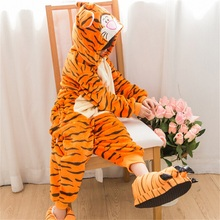 Kid Kigurumi Tiger Onesie Pajama Boy Girl Anime Animal Pijama Onepiece Funny Carnival Sleepwear Jumpsuit Night Home Indoor(China)