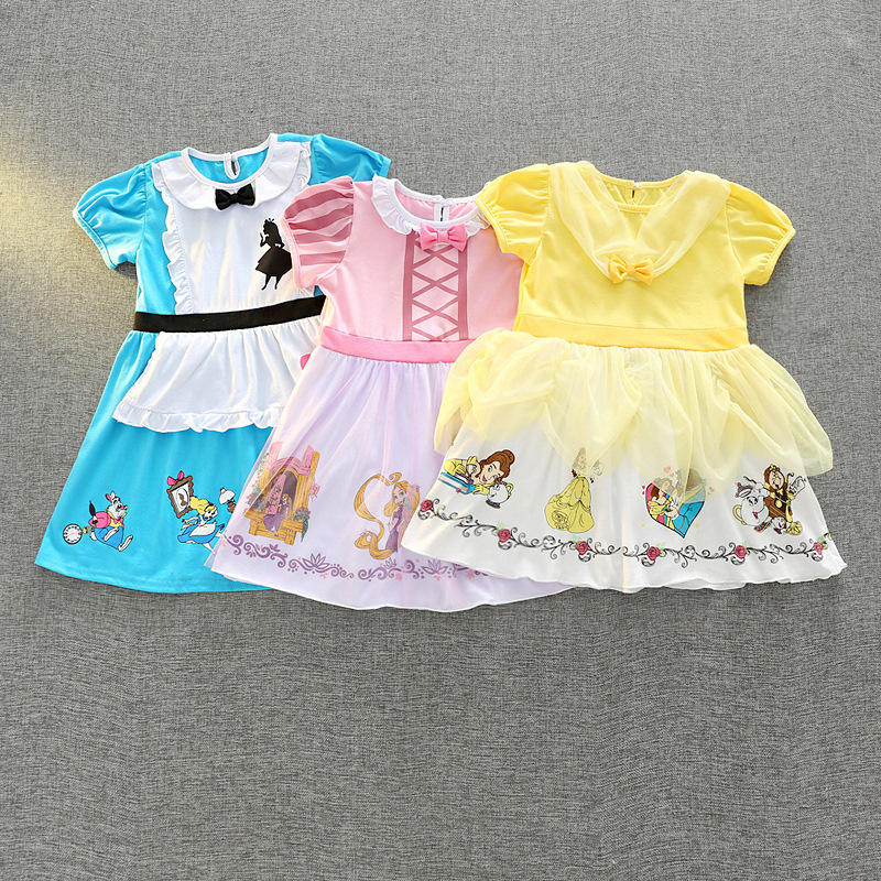 Princess Short Sleeve Lace Cotton Dress Summer Fashion Party Clothing Christmas Childrens Cartoon Clothes Blue Pink Yellow 18M01