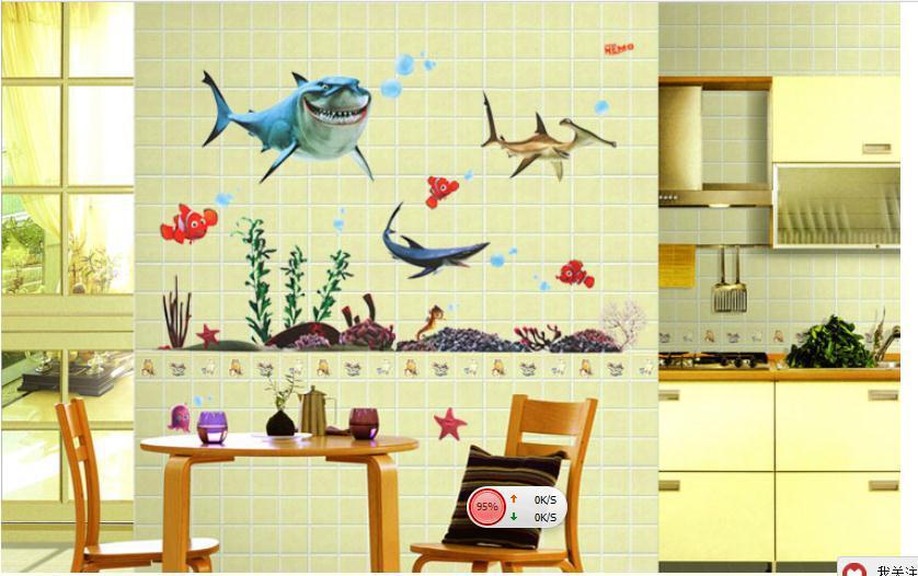 Holiday Promotion Happy Shark Ocean World Catoon Kids Room Wall ...
