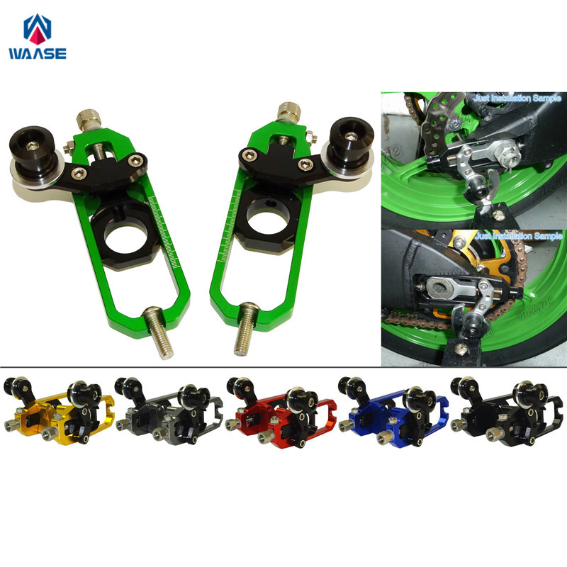 waase Motorcycle Chain Adjusters with Spool Tensioners Catena For Kawasaki Ninja ZX6R ZX-6R ZX636 ZX-636 2013 2014 2015 2016 engine case alternator generator stator guard cover for kawasaki zx6r zx 6r zx636 zx 6r 636 2013 2014 2015 2016