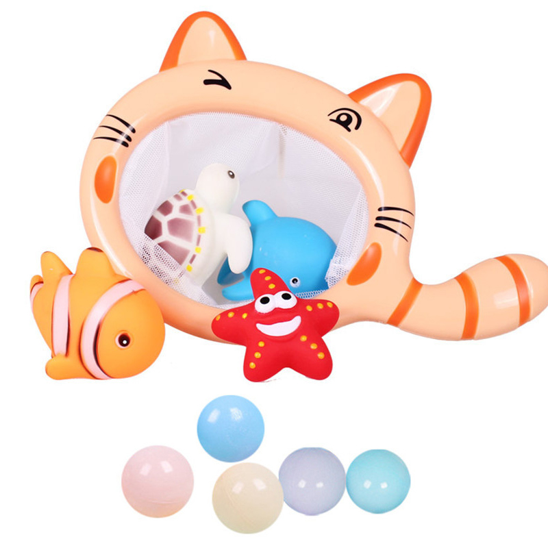 Classic Fishing Toy Cartoon Animals Cat Shark Net Bag Pick up Ocean Ball Swimming Play W ...