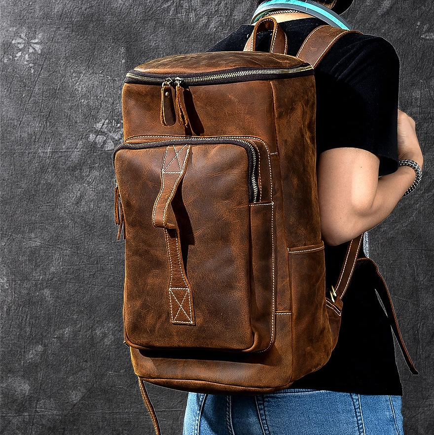 Top Crazy Horse Cowhide Genuine Leather Knapsack Male Computer bucket School Bags Vintage 100 Leather Rucksack