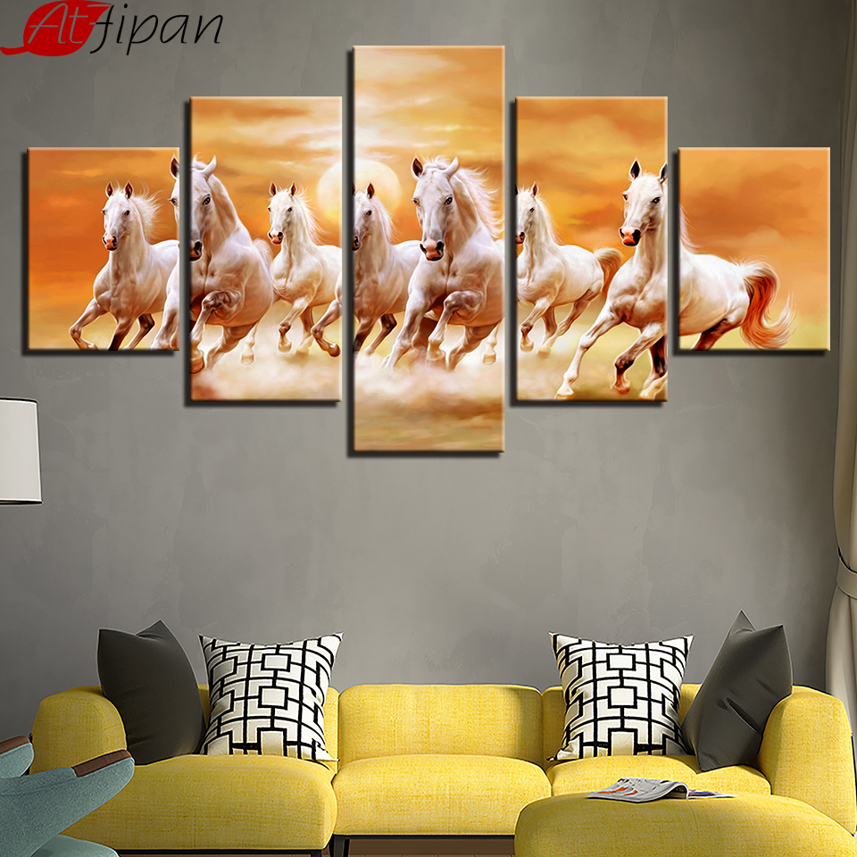 AtFipan 5 Pieces Running Fine Horses At Sunset Scenery Pictures Canvas Paintings Living Room Wall Art Prints Poster Home Decor