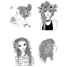 AZSG Pretty Hair Girl Silicone Clear Stamps/Seal For DIY Scrapbooking Decorative Card Making Craft Fun Decoration Supplies