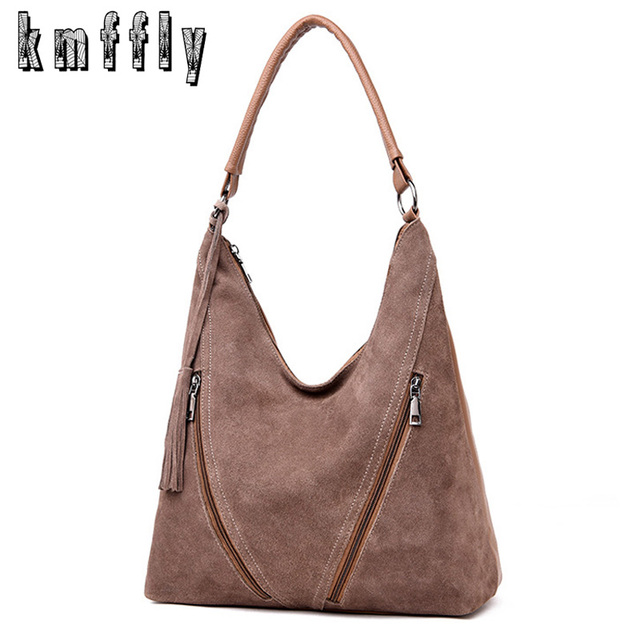 2018 Women Real Suede Leather Handbag Female Vintage Shoulder Bags  Luxurious Ladies Big Tote High Quality e26a3aafb5