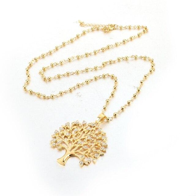 Фото chicvie длинные ожерелья золотого цвета с деревом жизни подвески цена