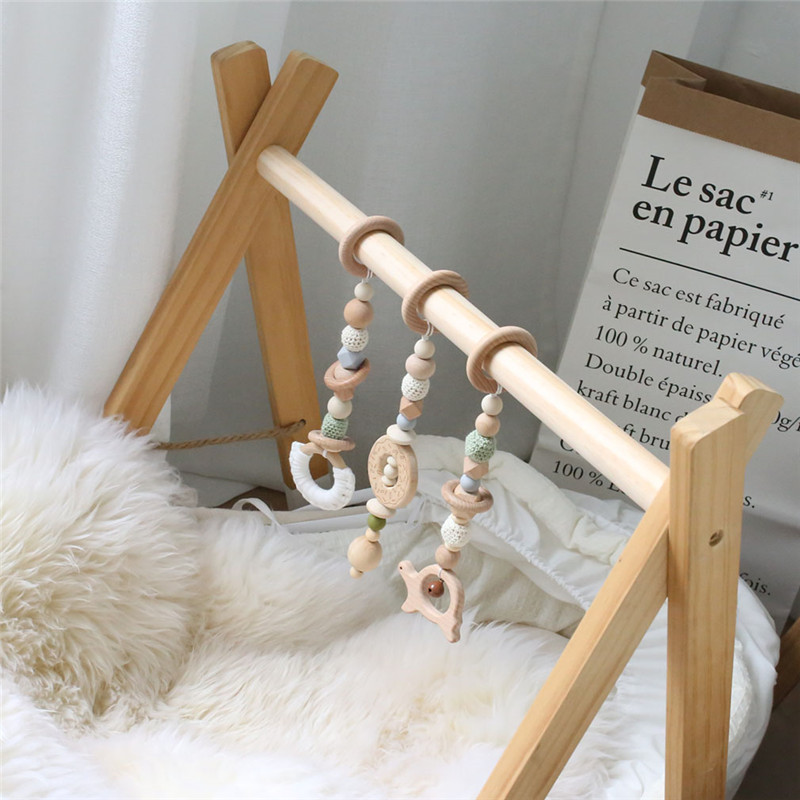 1 ensemble bébé hochet Mobile berceau Silicone perles hêtre bois beignet dentition bricolage à la main infantile lit poussette suspendus décor avec support - 6