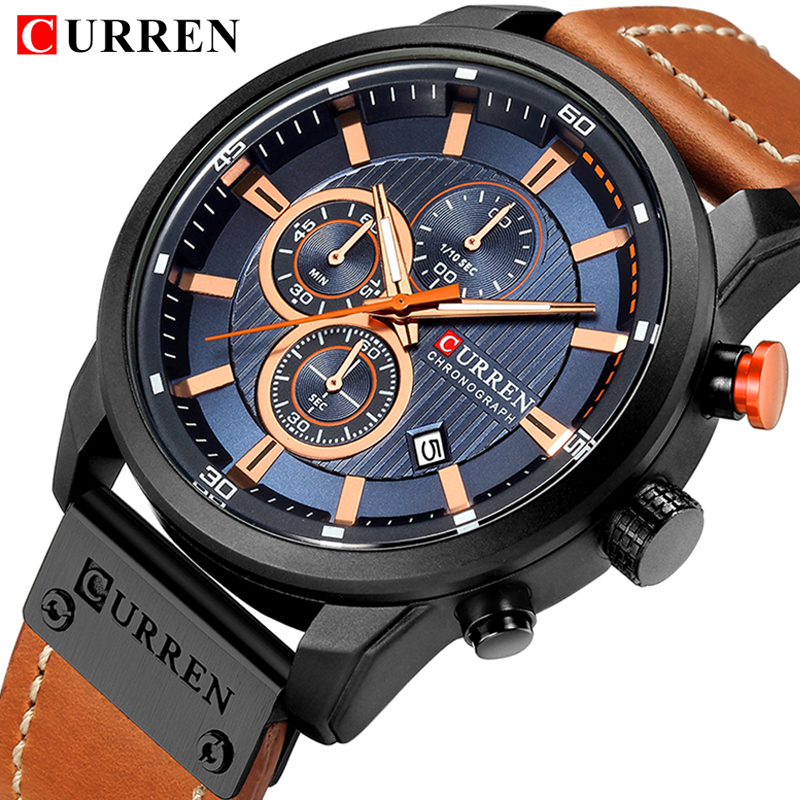 CURREN Watch For Men Brand Quartz-Watch Men's Round Dial Analog Watch with Date Display 2018 Top Luxury Popular Men Sport ClocK gt w5373 men s round dial pu band analog quartz watch
