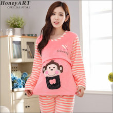 Confined clothing with long sleeves Thick maternity pajamas  Prenatal postpartum lactation breastfeeding suits DD369z