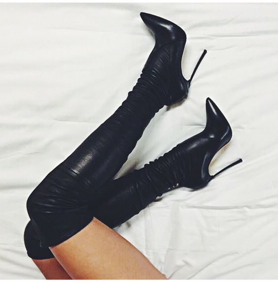 new fashion black stretch leather thigh high boots sexy pointed toe high heel boots for woman slim fit over the knee boots