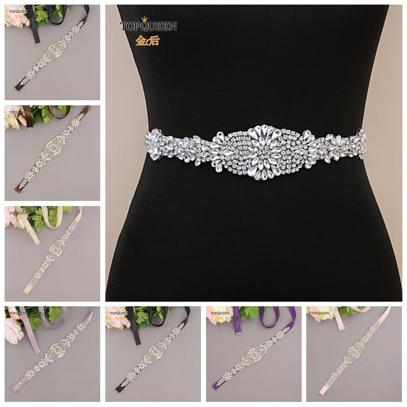 TOPQUEEN S123 Crystal Bridal Belt  Rhinestone Bridal Belt Handmade Silver Diamond Wedding Belt For Bridal Accessories