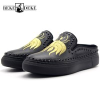 2018 New Genuine Leather Sandals Men Embroider Rivet Black Slip On Slippers Platform Loafer Flat With Beach Garden Shoes Male